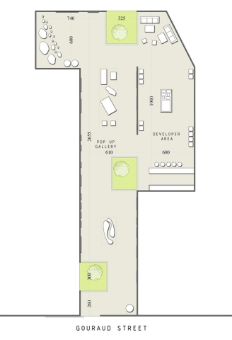 Allée Des Arts, Pop up gallery plan layout by Accent DG